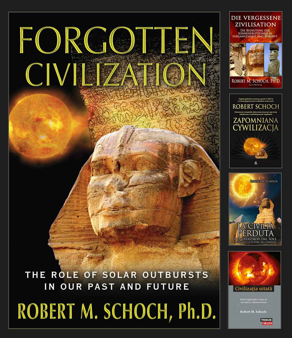 Photo montage of the front covers of the editions of Forgotten Civilization in  							various languages, English and others